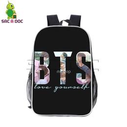 5c9fb5bf9524 Kpop BTS Bangtan Boys Love Yourself Backpack Hip Hop Girls Boys Pu Leather School  Bags V Suga Jimin Bts Daily Laptop Backpack