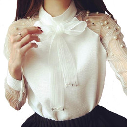 Wholesale 2018 Chiffon Shirts Long Sleeves Shirt Elegant Organza Bow Pearl White Blouse Casual Fashion Shirt Women Blouses Tops Blusas Femininas