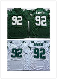 5ba29009f Hotsale Embroidered Logo men Reggie White 92 white green Throwbacks high  school R.White FOOTBALL JERSEY Size M-XXXL