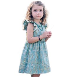 Nuovi arrivi Ragazze Dress Flying Sleeve Peacock Pattern Bordo in pizzo Decorazione Advanced Baby Girl Dress ragazze abbigliamento