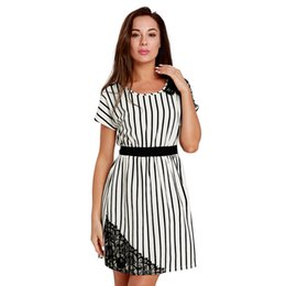 $enCountryForm.capitalKeyWord Canada - 2018 New Black White Striped Summer Dress for Women High Waist Lace Patchwork Casual Fashion Streetwear Dresses Short Sleeve