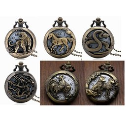 Zodiac Carvings NZ - Different animal Carving Hollow Quartz Pocket Watch Antique Bronze Zodiac Fob Watches with Necklace Pendant Chain Clock Best Gift