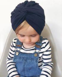$enCountryForm.capitalKeyWord NZ - ON SALE Girls Soft Cotton Turban Cross Knot Cap Beanie Hat Bohemian India Hat Winter Children's Caps Free Shipping