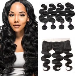 Prices virgin indian hair online shopping - 10A Brazilian Body Wave Bundles with Lace Frontal Peruvian Natural Black Virgin Human hair Products Price