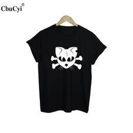 a8df0780 Women's Tee Funny Cat Tshirt Gothic Cat Skull T Shirt Women Harajuku Punk  Graphic Tees Women Clothes Black White Tee Shirt Tumblr