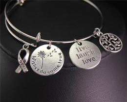 tree love bracelets 2019 - 1pcs Tibetan Silver Hope Ribbons Round Live Laugh Love Tree Expandable Adjustable Wire Wrapped Bangle Bracelet Jewelry G