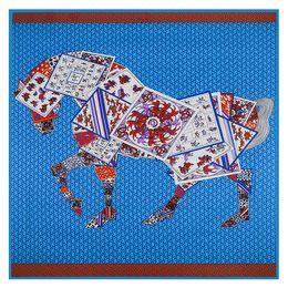 a1a71c95f714e Luxury France Square Women Horse Print Shawls Womens Brand Paris Design H Silk  Scarf Foulard Femme Echarpe En Soie Blue Large Twill Shawl