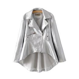 $enCountryForm.capitalKeyWord Canada - 2018 Women Long Back Short Front Black Leather PU Jackets for Juniors Girl Fashion Silver Ladies High-low Asymmetric Coats Wholesale Size XL