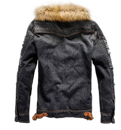 $enCountryForm.capitalKeyWord Australia - Acrylic Single Breasted Mens Denim Jacket With Fur Collar Retro Ripped Fleece Jeans Jacket And Coat For Autumn Winter