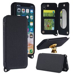 Iphone Case Double Card NZ - 2018 new for iphone X card holder mirror double buckle cover phone case iphone 10 car magnetic tape chain case