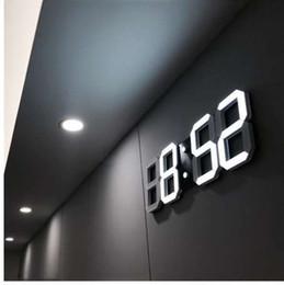 3D LED Duvar Saati Modern Dijital Masa Masaüstü Çalar Saat Nightlight Ev Oturma Odası Ofis Için Saat Duvar Saati 24 veya 12 Saat indirimde