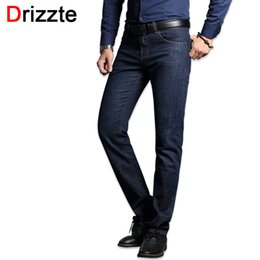 f8979d6ed69 Drizzte Men s Jeans Stretch Blue Denim Business Stragiht Silm Fit Jeans  Size 30 32 34 35 36 38 Pants Jean for Men