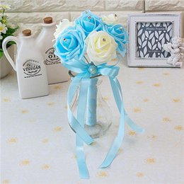 Cheap Crystal wedding bouquets online shopping - New Design Colors Flower Wedding Bouquet with Ribbon Handmade Artificial Crystals Handle Cheap Bridal Bouquet Buque de Noiva CPA1560