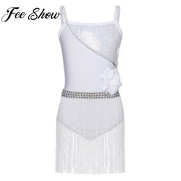 professional white dancing dresses UK - Feeshow White Professional Latin Dance Dress Girls Glitter Dress Latin Rumba Salsa Tango Dance Wear Costumes with Tassels 4-12T