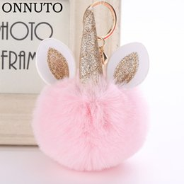 Artificial Chains Wholesalers Australia - Horse Pom Keychain Artificial Pompoms Rabbit Fur Ball Pompon Key Chain Women Bag Car Keyring Porte Clef Holder Fluffy 6C0243