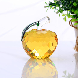 $enCountryForm.capitalKeyWord NZ - 40mm yellow crystal apple paperweight glass paperweight pretty gifts crafts art&collection christmas home wedding gifts decor
