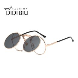 d0b60b95fc DIDI Steampunk Flip Sunglasses Women Gold Metal Frame Thin Round Sun Glasses  Rock Clear Lens Eyewear Clip On Lentes Men UN904