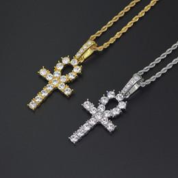 mens pendant crosses 2019 - cz cross necklace for Men Women pendant necklaces gold silver plated long chain necklace womens mens hip hop hiphop jewe