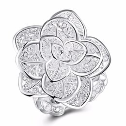 925 ring stamp 2019 - whole saleHigh-quality 925 stamped silver plated Fashion Jewelry Hollow Flower Ring Exquisite Design Opening Ring anillo