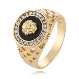 2019 nuovi anelli di design anelli di testa di leone testa d'oro 18 carati possono regolare i gioielli anello uomo in Offerta