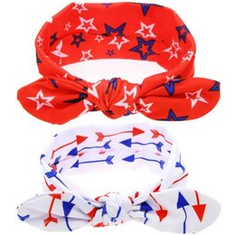 Discount wholesale 4th july headbands - American Patriotic Day Baby Headband Stars Print Bunny Ear Kids Hair Band 4th of July Children Hairwraps