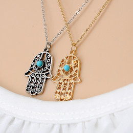 hand fatima necklace pendant Australia - Luck Hamsa Hand Pendants Necklace Gold Silver Fatima Hand Palm Statement Necklaces for Women Clavicle Sweater Chain Christmas Gift