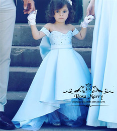 royal knots NZ - Luxury Crystals Girls Pageant Dresses 2019 A Line High Low Light Blue Knot Bow Plus Size Cheap Toddler Girls Birthday Prom Party Gowns