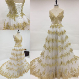 Stunning Ivory And Gold Wedding Dresses A Line Spaghetti Straps Colorful Dress Sparkly Lace Appliques Corset Back Bridal Gown