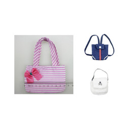 hands bags for girls Canada - Cute Striped Bowknot Hand Bag for 18'' American Girl My Life Generation Dolls Outgoing Backpack Bag 18 inch Doll Accessories