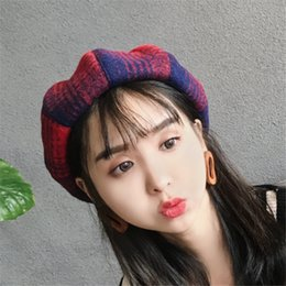 a51d404b43f1f South Korea s autumn winter fashion beret female painter ms mo octagonal cap  buds hat leisure wool checkered pattern cap