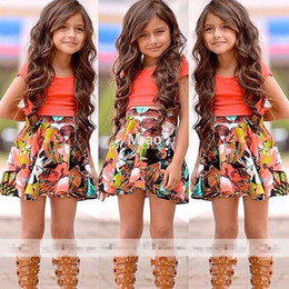 Cute Orange Shirt Outfits Canada - 2018 Free shiping new Baby Kids Girls Dress hot sale Shirt+Skirt Flower 2-Pieces Outfits Set 2-8Y