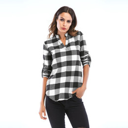 b07a710132a Women Girls Classic Plaid Check Long Sleeve V-Neck Loose Shirt Ladies  Casual Top Blouse