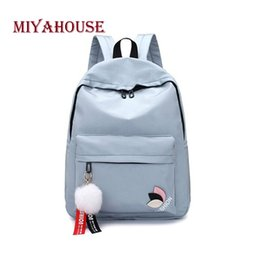 Discount materials hair - Miyahouse Preppy Style Backpack With Hair Ball For Female Candy Color Large Capacity Rucksack For Women Oxford Material