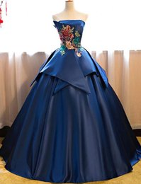 Beautiful quinceanera dresses online shopping - Elegant Royal Blue Satin Quinceanera Dresses Beautiful Flora Embroidery Ball Gown Strapless Peplum Formal Prom Evening Gowns BC0149