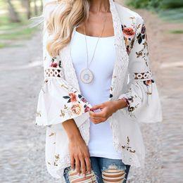 Womens Outwear Jackets Canada - CHAMSGEND New Womens Outwear Coat Fashion Women Lace Floral Open Cape Casual Coat Loose Blouse kimono Jacket Cardigan 2018