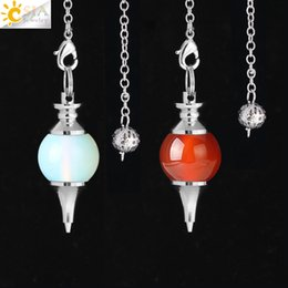pendulum agate NZ - CSJA New Reiki Natural Stone Pendant Dowsing Pendulum Pendule Round Conical Beads Red Agate Tiger Eye Amethyst Amulet Jewelry 10 Colors F269