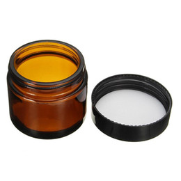 China 1pcs 60ml Amber Glass Jar Pot Skin Care Cream Refillable Bottle Cosmetic Container Makeup Tool With Black Lid For Travel Packing suppliers
