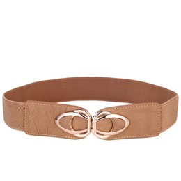 Wholesaler For Plus Size Dresses UK - PU Leather Elastic Wide Belt for Women Stretch Thick Waist Belt for Dress Fashion Stretch women belts plus size