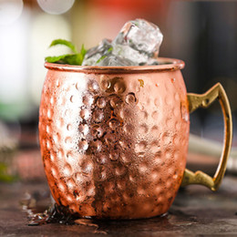 stainless tumblers NZ - Stainless Steel Moscow Mule Mugs 18 Ounces Cocktail Cups Hammered Copper Plated Beer Mugs Tumbler Bar Wine Cups Drinkware