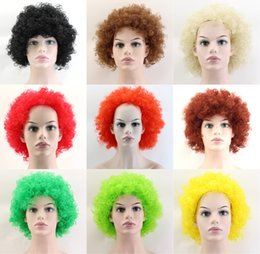 Afro costume online shopping - 9Colors Halloween disco curly wig Rainbow Afro wigs Clown Child Adult Costume Football Fan Wig Hair Fan Fun