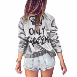 Printed short coat online shopping - Regular Autumn Women Bomber Jacket Women Coat Crown Queen Print Long Sleeve Zipper Top Coat Biker Casual Short Outwear