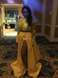 white girls sexy legging NZ - 2018 High Neck Long Sleeve Yellow Prom Dresses Two Pieces Black Girls Prom Gowns Lace Leg Slit Skirt Sexy Night Party Dresses