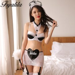 Wholesale Hot Erotic Maid Cosplay Costume Lingerie Set Lace Sexy Babydoll Halter Bra Transparent Skirt G String Porn Nightwear Lenceria