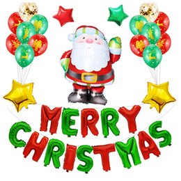balloon santa claus UK - 22PCS Merry Christmas Santa Claus Balloons Set Christmas Letter Aluminum Balloons Festival Atmosphere Party Decoration Supplies