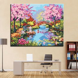Discount oil warmers - DIY Digital Painting By Numbers Handpainted Warm Jiangnan Spring Scenery Oil Picture Canvas Home Decor Abstract Wall Art
