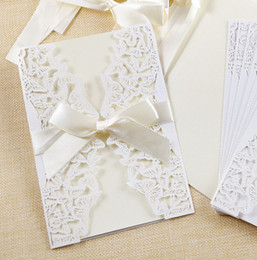 invitation blank card NZ - 100pcs New Arrival Laser Cut Wedding Invitations with Blank Inner Cards Laser Cut Birthday Invitations White