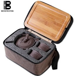 teapot 2019 - Outdoor Camp Portable Quick Cup Chinese Traditional Ceramic Yixing Purple Clay 1 Teapot 2Cups with 1Bamboo Tray 1 Travel