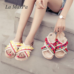 3577691dca56 Summer Flat With Roman Gladiator Sandals Colorful Flower Ball PomPom Sandals  Women High Thong Ankle Strap Shoes Lady Beach Shoes