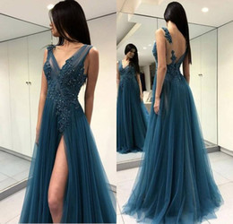front art Australia - Sexy Backelss Peacock Blue Prom Party Dresses 2018 Sheer Neck Front Split Lace Appliques Beaded Formal Evening Special Occasion Gowns Cheap