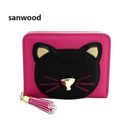 Black leather cat purse online shopping - Newest Women Short Zipper Faux Leather Tassel Cat Purse Clutch Coin Card Holder Wallet